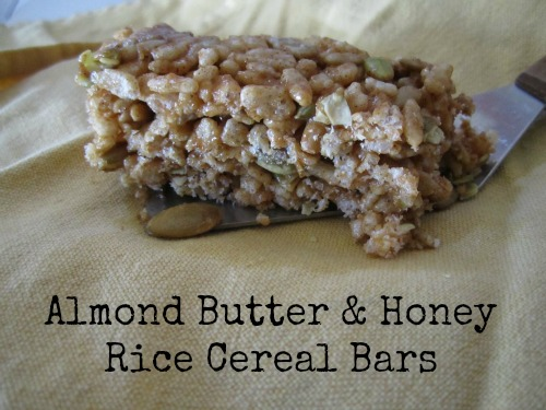 almond butter and honey rice cereal bars