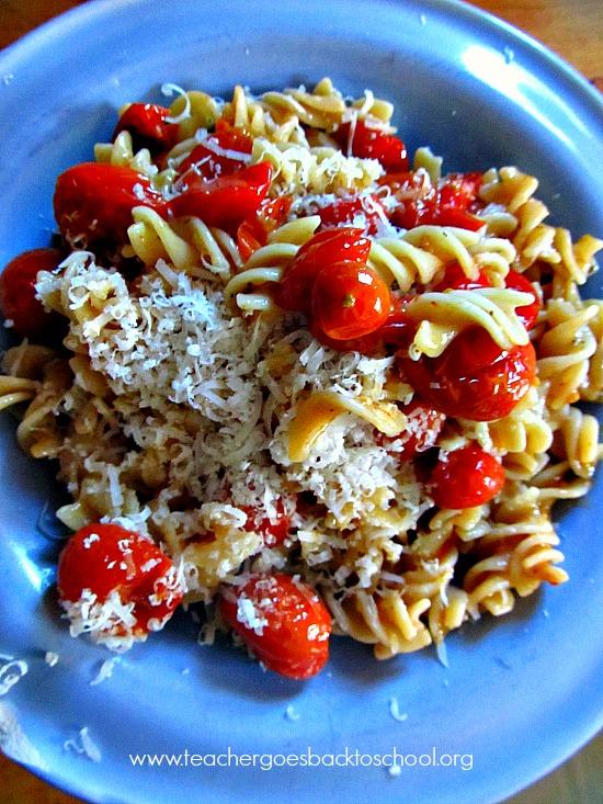 teacher cooks pasta
