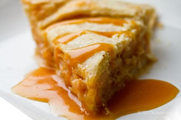 vegan apple pie with caramel sauce